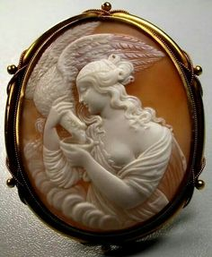 1850 Italy. Sardonyx shell and 15 ct. gold tested. Hebe goddess of youth feeding the Eagle of Zeus.