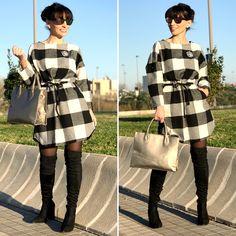 Vestido a cuadros - Temporada: Otoño-Invierno - Tags: look, ootd, fashion, moda, stardivariusblog, influencer - Descripción: Look lady con vestido a cuadros #FashionOlé