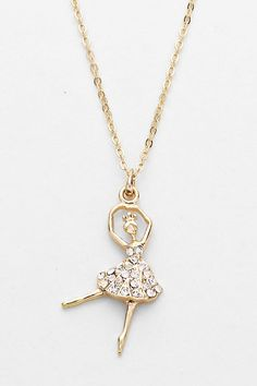 Crystal Ballerina Necklace in Gold on Emma Stine Limited