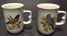 Pair Song Bird Mugs Hand Painted Fred Roberts Coffee Tea Mug Cup Set 2 Unique | eBay