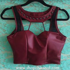 Studded Crop Top Tank - Burgundy Faux Leather - Black Silver or Gold Studs on Etsy, $30.00