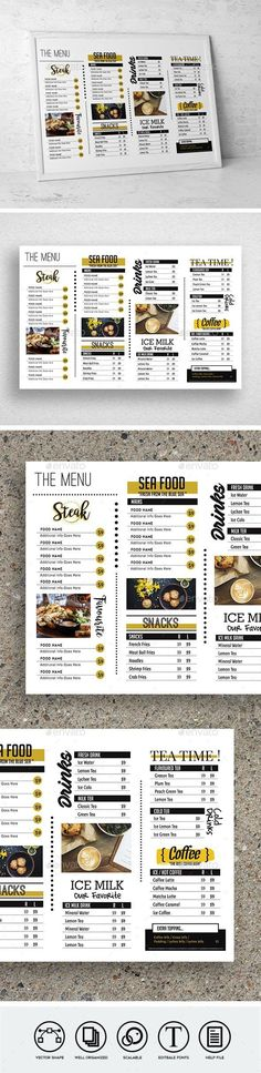 Features With Bleed CMYK Easy to Use Help File Included Vector Shape Free Fonts used Well Organized Layers Fonts 1 2 3 4 5 6 Kids Lunch For School, Healthy Lunches For Kids, Healthy Toddler Meals, Kid Lunches, Kid Snacks, Lunch Snacks, Toddler Food, Menu Restaurant, Restaurant Menu Template