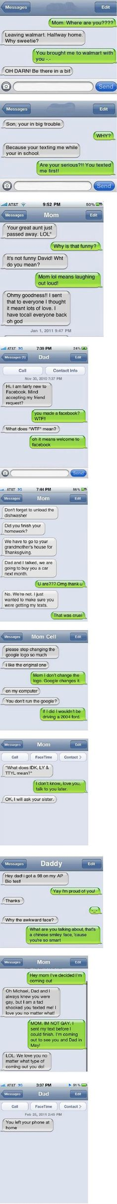 Parents and text messages...