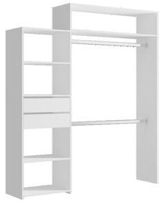 En panneau de particules, finition papier décor blanc. Dim. : H. 210 x L.de 125 à 183,5 x P. 39,7 cm. Ép. 15 mm.  Composé de : - 1 colonne L. 58,5 cm, - 1 espac