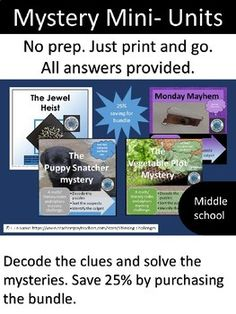 Mystery Mini units are a great opportunity for your students to put their math skills into use by solving clues, sorting suspects and coming to a conclusion that they can justify. The resources ofer plenty of challenge and are ideal as group or class activities. Math Literacy, Literacy Centers, Class Activities, Classroom Activities, Middle School, Back To School, Higher Order Thinking, Thematic Units, Critical Thinking Skills
