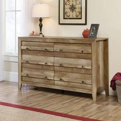 Sauder Dakota Pass 6 Drawer Dresser in Craftsman Oak Finish: Craftsman Oak Drawers with metal runners and safety stops feature patented T-lock assembly system Quick and easy assembly with patented slide-on moldings Six Drawer Dresser, Double Dresser, Oak Dresser, Dresser Storage, Commercial Office Furniture, Kids Bedroom Furniture, Bedroom Ideas, Bedroom Dressers, Furniture Redo