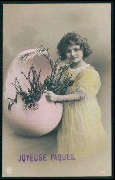 Pretty Child Girl Easter Egg Hatch original vintage old 1910s photo postcard