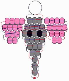 Pony bead pattern that would work perfectly as a perler bead pattern! Pony Bead Projects, Pony Bead Crafts, Beaded Crafts, Beaded Ornaments, Wire Crafts, Pony Bead Animals, Beaded Animals, Pony Bead Patterns, Beading Patterns