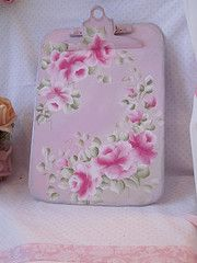 Hand Painted Pink Roses on ClipBoard