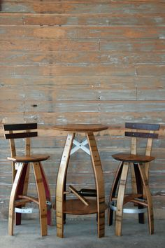Wine Barrel Oak Bistro Table And Stools With Hoop Structural Reinforcements