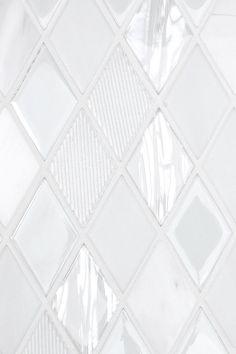 Elegant White Glass Marble Kitchen Backsplash Tile. Luxury look for White & Gray Kitchen Design Projects