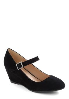 Every Waking Moment Wedge in Black - Black, Solid, Wedge, Mary Jane, Mid, Vintage Inspired, Mod