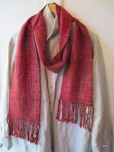 Red-Cranberry     Handwoven silk linen rayon scarf
