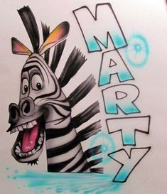 Your place to buy and sell all things handmade Disney Character Names, Disney Cartoon Characters, Disney Drawings, Cartoon Drawings, Airbrush Designs, Airbrush Art, Graffiti Art Drawings, Zebra Cartoon, Zebra Drawing