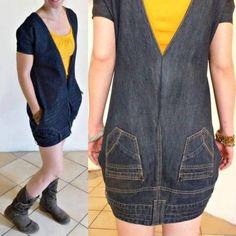 Upside down upcycled jeans/denim dress by OrangeUpcycling on Etsy, reciclar vaqueros convirtiéndolos en vestido Diy Clothing, Sewing Clothes, Sewing Shirts, Dress Sewing, Diy Kleidung, Diy Vetement, Denim Ideas, Denim Crafts, Refashioning