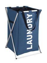 """Der moderne Wäschesammler Uno im frischen, trendigen Blau und hellem """"LAUNDRY""""-Schriftzug bringt Stil ins Bade- oder Schlafzimmer. Mit seinen 52 Litern Fassungsvermögen bietet er jede Menge dekorativen Platz fur die Wäsche bis zum nächsten Waschgang. Gesehen für € 24,99 bei kloundco.de."""