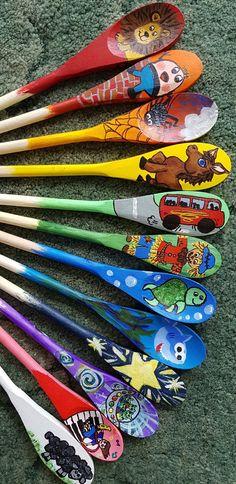 Bundle of 6 Nursery Rhyme/Story/Emotion Spoons Emotions Activities, Rhyming Activities, Autumn Activities, Infant Activities, Painted Spoons, Wooden Spoons, Nursery Activities, Preschool Themes, Nursery Songs