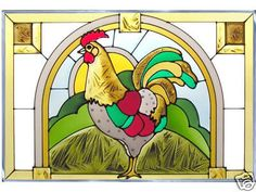 20x14 ROOSTER Chicken Stained Art Glass Suncatcher Panel