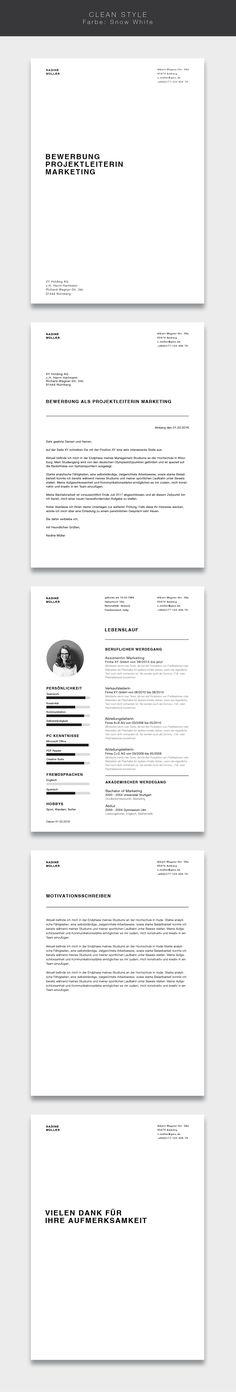 """Unsere Bewerbungsvorlage ( #cvtemplate ) """"Clean Style"""" in der Farbe Snow White. Less is more. Einfaches und übersichtliches Design kombiniert mit einem strukturierten Aufbau. Mit der Vorlage """"Clean Style"""" lassen Sie alle Mitbewerber verblassen. Sie erhalten von uns ein Deckblatt, Anschreiben, Lebenslauf, Motivationsschreiben und Abschlussseite. Die Datei bekommen Sie als fertige Pages- oder Word-Datei inklusive Platzhaltertext mit Hinweisen. #grafikdesign #fashion"""