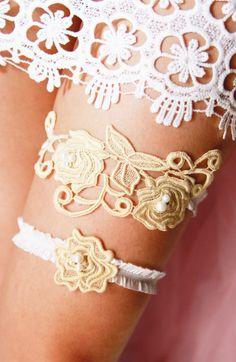GORGEOUS Vintage Inspired Bridal Garter Wedding Garter Set - Keepsake Garter Toss Garter - Gold Champagne Lace Beaded Flower Lace Garter Garters - Boho Rustic Woodland Weddings