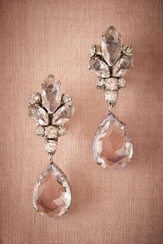 Clear Vianne Earrings | BHLDN>> DIY with buttons for jeweled part and pearls instead of crystals.