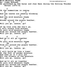Bob Dylan song, lyrics with chords - Wild Mountain Thyme