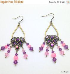SALE Earrings Pink Crystal Earring with Purple by ZaverDesigns