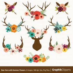 Deer Horn with Summer Flowers. Floral Antlers Clip Art. Rustic Wedding Stationery. 9 images, 300 dpi. Eps, Png files. Instant Download. by Graphikcliparts on Etsy