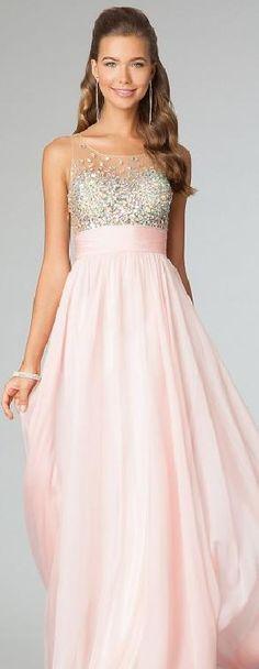 Cute Natural Pink Chiffon Long Sleeveless Evening Dresses Sale yiyadresses14087bfht #longdress #promdress