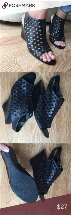 Franco Sarto wedges Black Franco Wedges with Laser cut diamond detail. These have only been worn once but have a couple of knicks on the front toe and back wedge-priced accordingly. ⛔️trades no low-ball offers. Franco Sarto Shoes Wedges