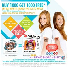 Temporary Tattoos Buy 1K Get 1K FREE!  Text PROMOSWORK to 95577  #Promotions #Tattoos #ink #inked #tat #tats #tatted #tattedup #promoswork #summerfun #promotionalProducts