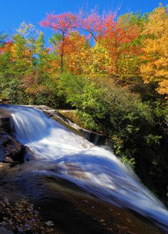 Upper Creek Falls in Pisgah National Forest with fall color - Burke County, North Carolina