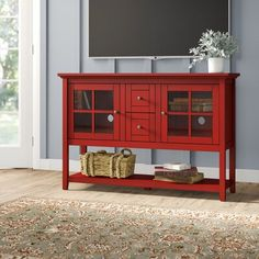 Beachcrest Home Greggs TV Stand for TVs up to 58 inches Color: Red Corner Tv Stands, Cool Tv Stands, Repurposed Furniture, Cool Furniture, Painted Furniture, Red Tv Stand, Tv Stand Showcase, Laundry Table, Tuscan Decorating