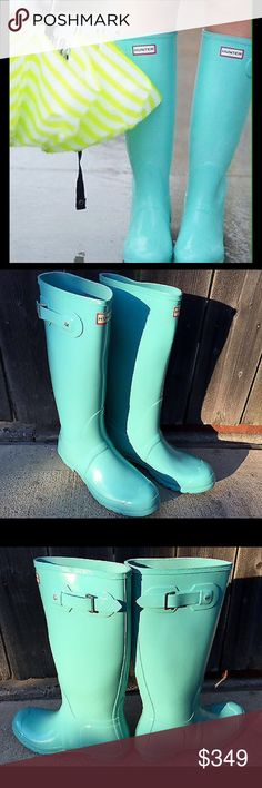 Selling this Hunter Tiffany Blue Mint Rubber Rain Boots 5 - 8 on Poshmark! My username is: snubble2000. #shopmycloset #poshmark #fashion #shopping #style #forsale #Hunter Boots #Shoes