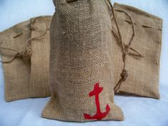 Anchor Burlap Bag Best Bridesmaid Gifts, Novelty Bags, Burlap Bags, Sea Shells, Cool Designs, Great Gifts, Reusable Tote Bags, Anchor, Cute