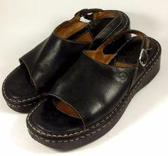 BORN Women's Shoes ~ Black Leather Open Toe Sling Back Sandals ~ Euro 39 US 8 M #Born #Slingbacks
