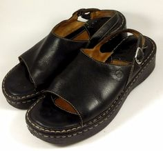 BORN Women's Shoes ~ Black Leather Open Toe Sling Back Sandals ~ Euro 39 US 8 M #Born #Slingbacks
