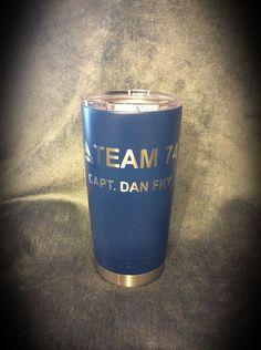 YETI 20 oz. mug coated with Duracoat Custom mixed Blue with custom logo.