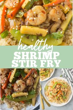 Healthy Shrimp Stir Fry is an easy, quick meal done in under 20 minutes. Use rice or keep it paleo, whole30 and keto / low carb with cauliflower rice! A clean eating dinner everyone will love. The sauce is delicious and works well on noodles too! Clean Eating Dinner, Clean Eating Recipes, Healthy Recipes, Shrimp Stir Fry, Paleo, Keto, Healthiest Seafood, Cauliflower Rice, Vegetarian Food