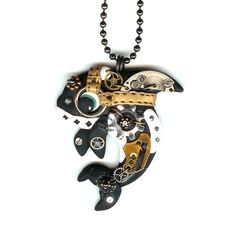 Steampunk Killer Orca Whale Necklace Polymer Clay von Freeheart1