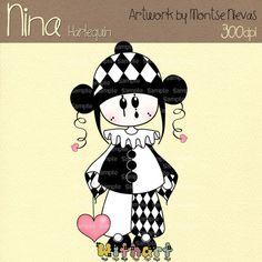 Harlequin Nina dolls 0286 digital clip art set images by Withart, $2.99