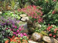 another glimpse of a small fountain and the flowers I envision in my own secret garden... someday...