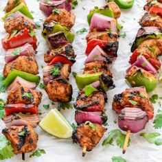 Skip the sizzling skillet. These Fajita Chicken Kebabs can be made on the grill. Less mess in the kitchen!