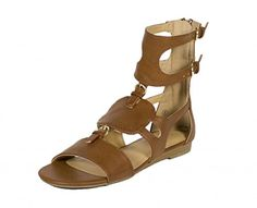 City Classified Womens Shona Open Toe Multiple Straps Cut Out Gladiator Inspired Flat Sandal tan leatherette 10 M US -- Click image to review more details.(This is an Amazon affiliate link and I receive a commission for the sales)