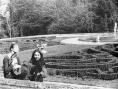 George and Pattie (holding a very kissy dog) at Friar Park