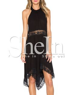 Black Sleeveless With Lace Asymmetric Dress 11.99