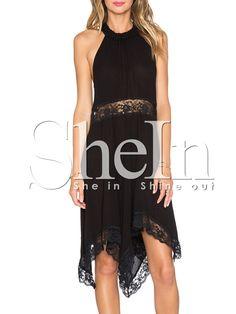 Black Sleeveless With Lace Asymmetric Dress 11.99