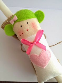 Sugarbaby Art . . . easter candle Easter Crafts, Easter Ideas, Baby Baptism, Hello Dolly, Softies, Little Ones, Doll Clothes, Easter Candle, Dinosaur Stuffed Animal