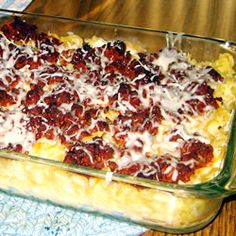 Hubby's Delight - Grandma's recipe. 8 oz noodles, 1 lb grn beef, 3-8 oz cans tomato sauce, 1 c. cottage cheese, 8oz crm cheese, 1 c. shredded cheese, 1/3 c. chopped onion, 1/4 c. sour cream, 1/4 c. greem pepper. Layer in 9x13 like lasagna. Bake 30-40 at 350.