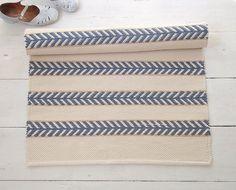 Ivory, blue, beige cotton rug, off white rug, scandinavian design rug, washable, handmade, reversibl